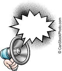 anförande, megafon, bubbla, räcka lämna