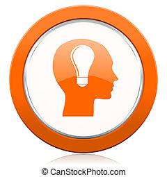 anføreren, appelsin, ikon, menneske hovede, tegn