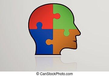 anføreren, egen, farverig, firma, reflektion., opgave, jigsaw, inderside., stykker, facon, den agterste roer, infographic, forbundet, menneske, tykke, element., ikon