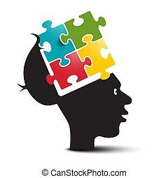 anføreren, farverig, opgave, jigsaw, løsning, isoleret, baggrund., påfund, brain., menneske, hvid, åbn, concepts.