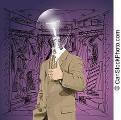 anføreren, firma, godt, lampe, vektor, gør, show, mand