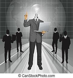 anføreren, firma, lampe, vektor, noget, mand, show, finger