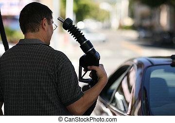 anføreren, hans, pege, nozzle, gas, mand