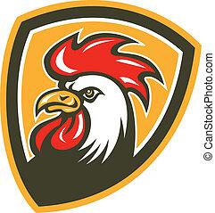 anføreren, skjold, hanen, retro, kylling, mascot