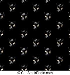 anføreren, sort, glødende, guld, kat