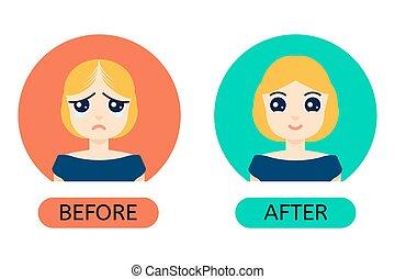 anf, femme, chauve, après, traitement, avant