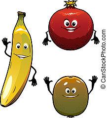 anf, kiwi, grenade, vert jaune, fruits, banane, rouges