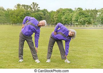 anfall, ältere paare, trainieren