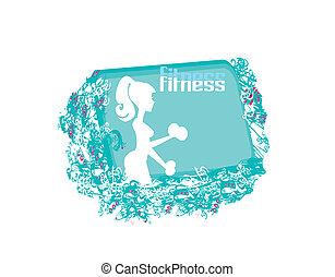 anfall, frau, trainieren, mit, zwei, hantel, gewichte, auf, sie, hände