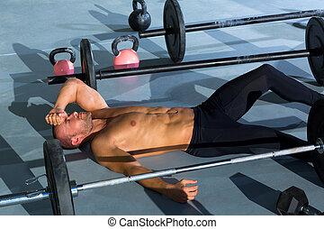 anfall, muede, entspanntes, nach, kreuz, workout, mann