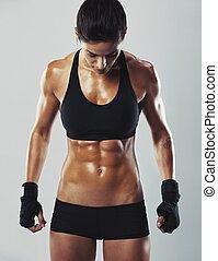 anfall, und, sexy, junger, weibliche , bodybuilder