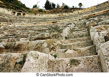 anfiteatro, piedra, ángulo, bajo