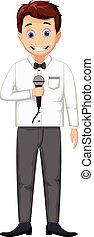 anfitrião, caricatura, segurando, microfone