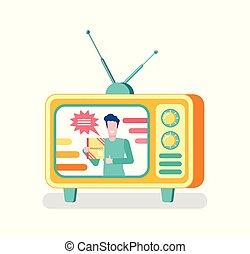 anfitrião, ligado, mostrar, anunciando, produto, ligado, tv, imprensa massa
