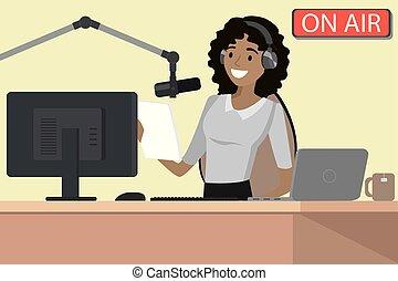 anfitrião, microfone rádio, transmissão, ar, fala