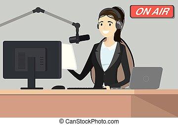 anfitrião, microfone rádio, transmissão, fala, ar