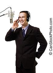 anfitrión, micrófono de radio, hombre, estación, hablar