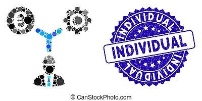 angústia, indivíduo, ícone, relações, desenvolvimento, selo, colagem, euro