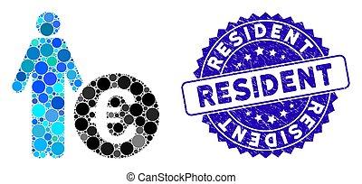angústia, residente, ícone, investidor, mosaico, euro, selo