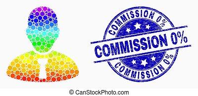 angústia, selo, 0%, gerente, comissão, luminoso, vetorial, pixelated, selo, ícone