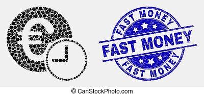 angústia, selo, dinheiro, tempo, rapidamente, crédito, vetorial, selo, ícone, ponto, euro