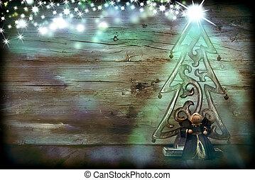 ange, árbol, navidad