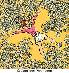 ange, argent, dollars, jeune, neige, lot, girl, marques