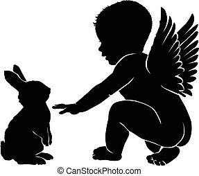 ange, bébé, lapin pâques