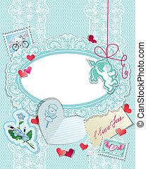 ange bleu, amour, dentelle, vendange, cœurs, timbres, calligraphic, fond, texte, papiers, vous, vacances, carte