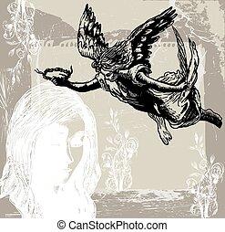 ange, condolences, gardien, -, main, vetor, dessiné, freehand