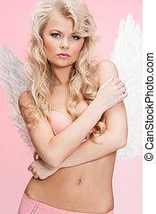 ange, girl, dans, sous-vêtements, et, ailes