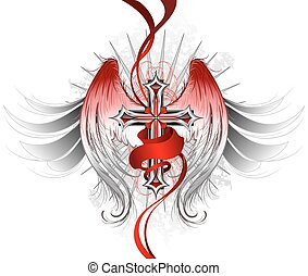 ange, gothique, croix