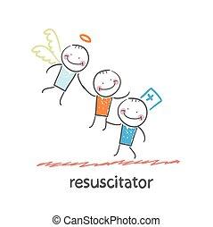 ange, haut, malades, resuscitator, garde, cueillette