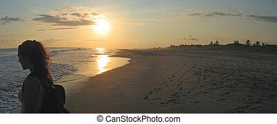 ange, mexique, panorama, femme tropicale, pendant, puerto, plage, coucher soleil