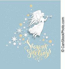 ange neige, carte, salutation