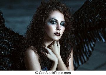 ange, noir, ailes