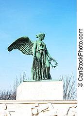 ange, port, danemark, -, statue, copenhague