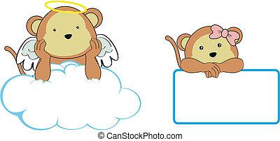 ange, singe, copyspace, dessin animé