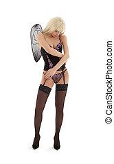 ange, sur, triste, lingerie, noir, #2, blanc