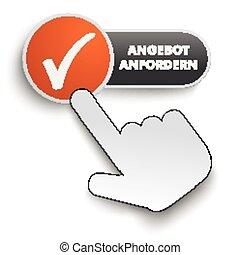 Angebot Anfordern Button Hand Cursor