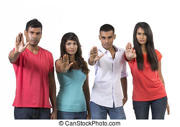 angehoben, Gruppe, Leute,  Signal, Hände, indische, Halt