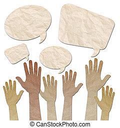 angehoben, handwerk, auf, wiederverwertet, papier, vortrag halten , menschliche hände, blasen, weißes