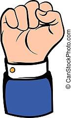 angehobene hand, ikone, ikone, karikatur, gebärde, faust