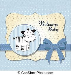 angekommen, baby, karte, zebra, neu