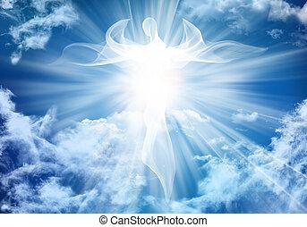 angel., 光線, 雲, ライト, 抽象的, 空, イラスト, 明るい白