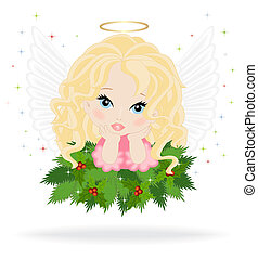 angel 16 - angel on spruce branches isolated on white...