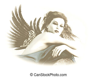 Angel 3d CG - 3D computer graphics of a sexy lady with wings