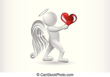 Angel 3D man with a heart logo vector