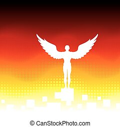 A man with wings on an abstract background. Vector illustration with clipping mask.