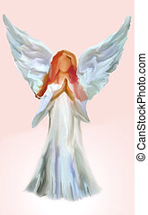 angel - Abstract Illustration of Angel on pink background